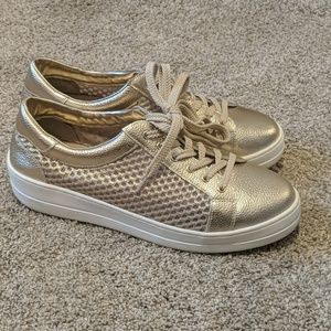 Gold lace up sneakers